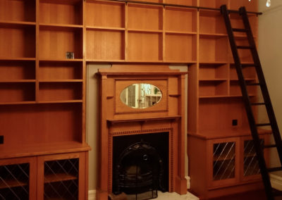 Built in bookcases with rolling library ladder, American Oak, Mount Lawley.