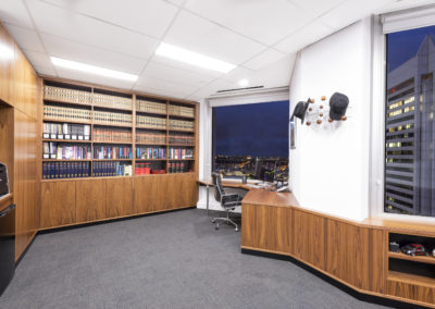 Custom built bookshelves Perth. St Georges Terrace.