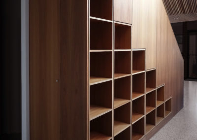 Built in stairway bookcase with balustrade (spotted gum) Fremantle.