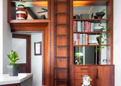 Jarrah bookcases with rolling library ladder.