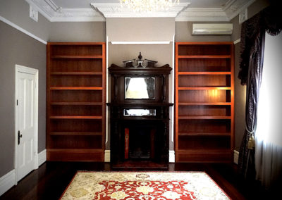 Built in bookcases, Jarrah wood, North Perth.