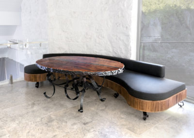 Luxury table and custom made curved seating.