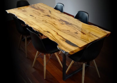 Dining table, West Australian Marri slab wood with a high gloss epoxy finish.